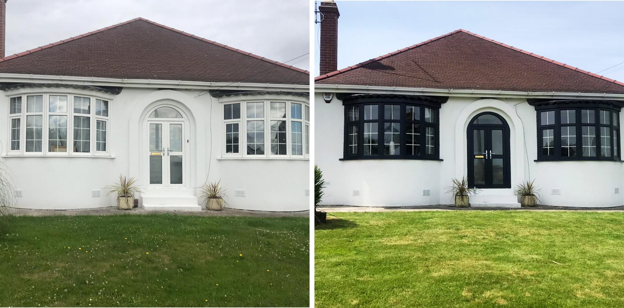 Before and after of a house that had its exterior repainted and its windows and door spayed in grey upvc paint