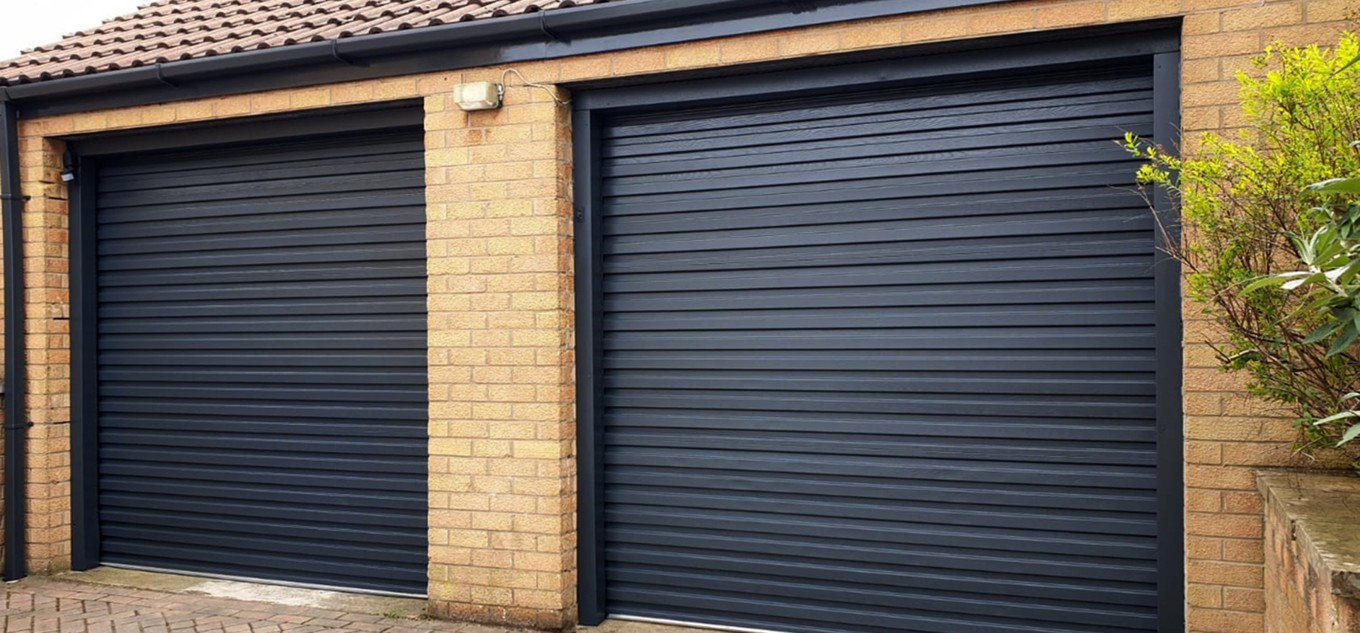 A pair of garage doors spray painted Anthracite Grey