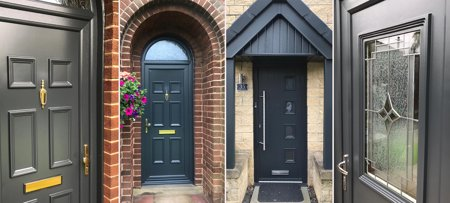 UPVC Door Painting, UPVC Door Spray Painted Grey by UPVC Spray Painters Leeds