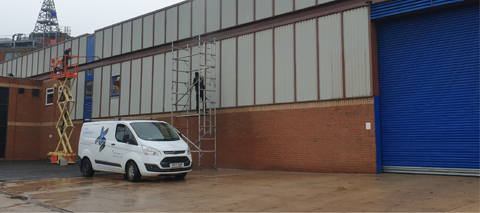 Industrial Painting - Step 1 - Cladding Panels Spray Painted by UPVC Spray Painters